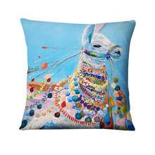 Colourful Watercolor Animal Oil Painting Printed Pillowcase Thin Linen Cushion Decorative Pillow Home Decor Sofa Throw Pillows