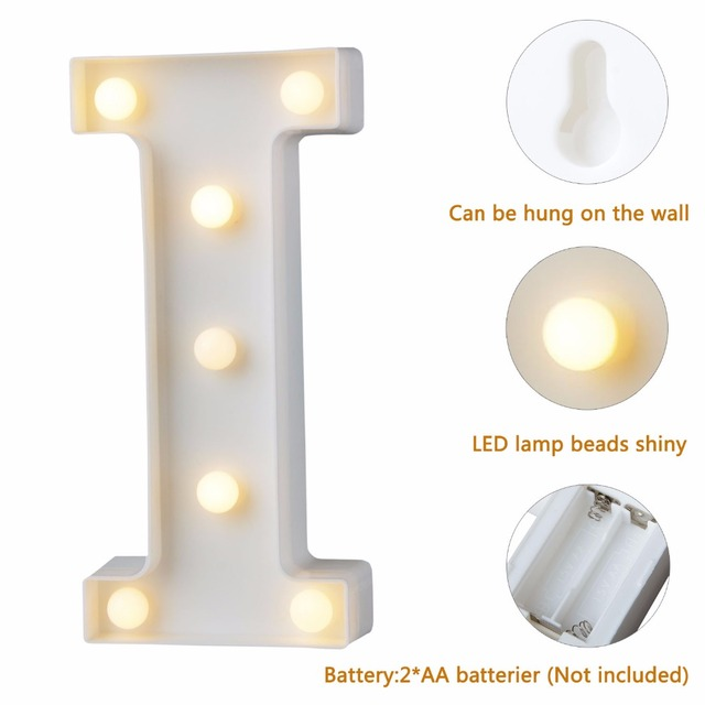 White Plastic Letter LED Night Light Marquee Sign Alphabet Lights Lamp Home Club Outdoor Indoor Party Wedding Home Decoration 3