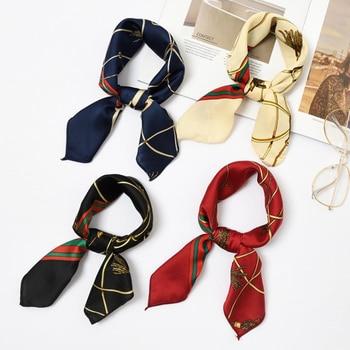 50*50cm Fashion Women Elegant Floral Silk Square Scarf Small Plain Neckerchief Handle Bag Ribbons Ladies Headband Hair Tie Band 4