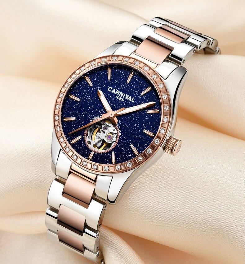 Switzerland Luxury Rhinestone Women Watches 2019 Ladies Watch Automatic mechanical Waterproof Female Clock relogio feminino