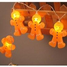 Рождественский Пряничный мужской струнный светильник s 3D Золотой пластик 64 дюймов внутренний светильник ed светодиодный светильник гирлянда уличная Новогодняя гирлянда