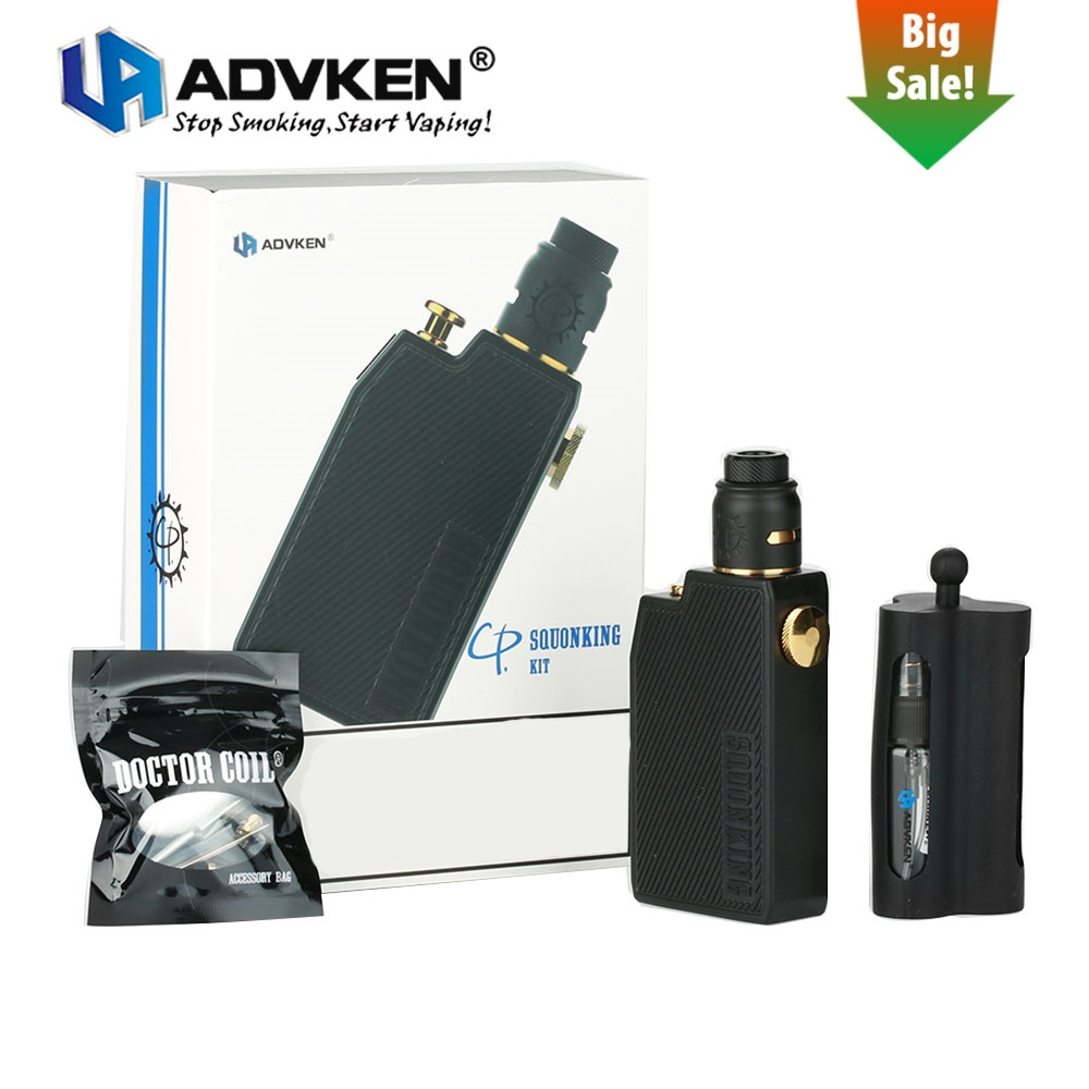 Original Advken CP Squonking Kit Squonk Squonker Bf Electronic Cigarette Kit w/ 22mm Single Coil RDA 7ml Bottle Vape Kit Vs Gbox pentel zl62 w zl62 w 7ml