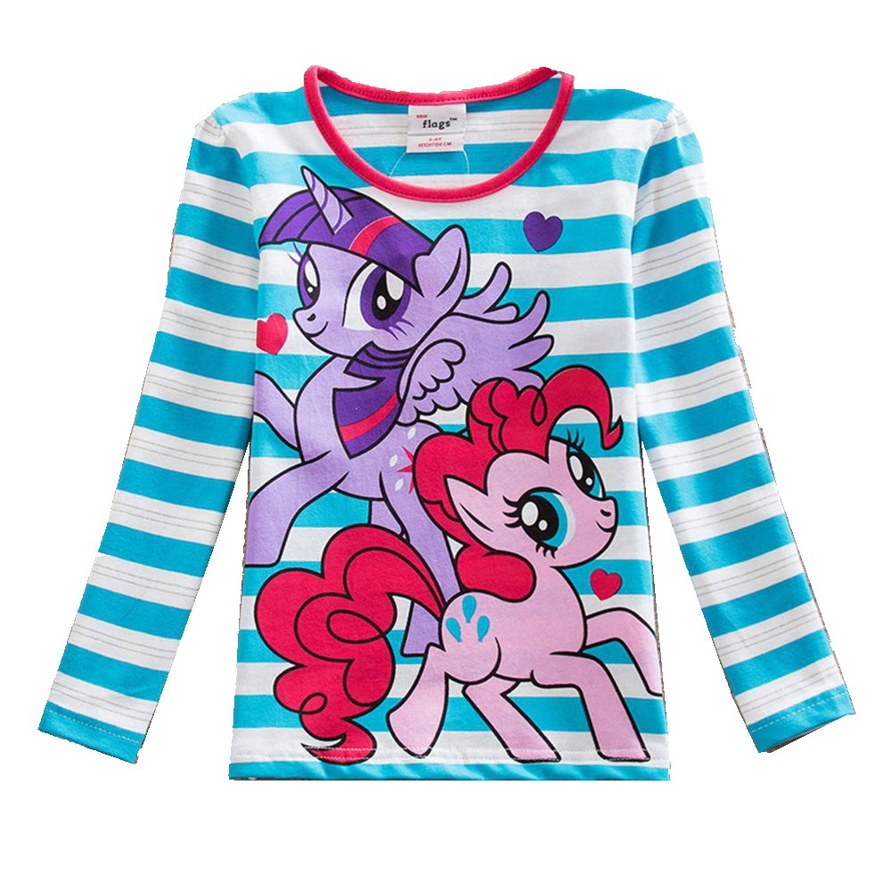 Children's T-Shirt Tops Long-Sleeve Embroidered Autumn Striped F4908