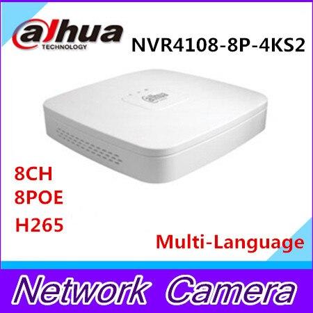 Original MUtil language DAHUA POE DH-NVR4108-8P-4ks2 NVR4108-8P-4KS2 NVR with 8 poe ports Smart 1U Mini NVR 4k h265 Network NVR 24 pcs rj45 modular network pcb jack 56 8p w led 4 ports