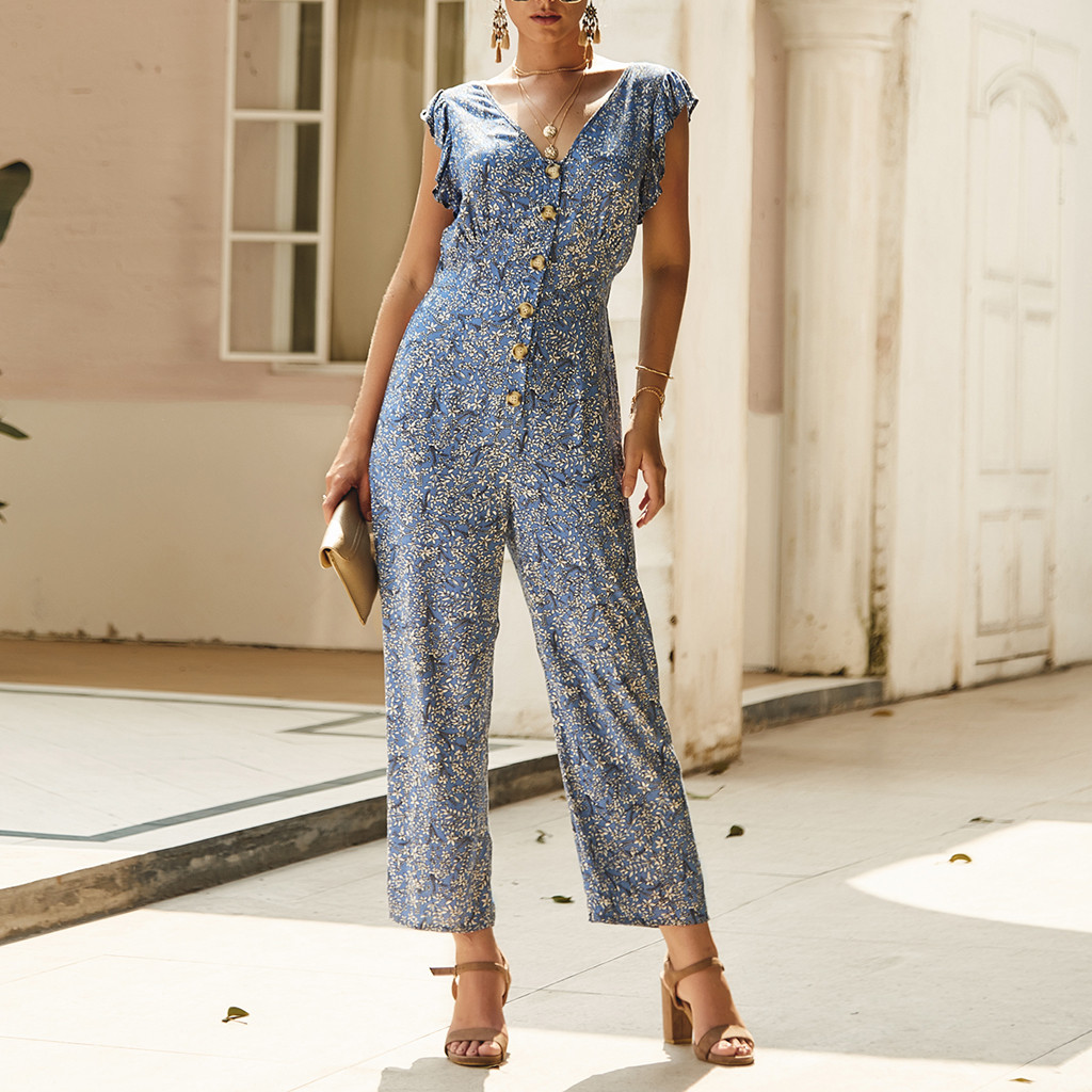 Women Slim Jumpsuits Floral Print 2020 Ladies Summer Vacation Overalls Rompers Long Pants Onesies Jumpsuit Button V-neck Ruffles