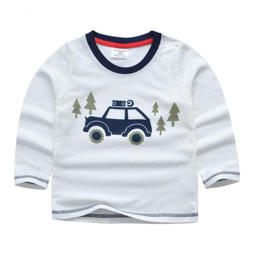 1-6T Cotton Boys Shirts Car Printed Girls Boys Clothes T-shirt Baby Sweatshirt Girls Tops 2018