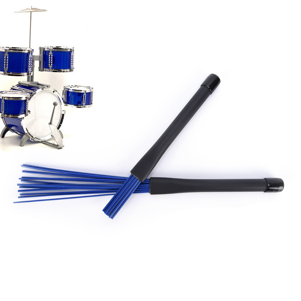 1Pc Black/blue Jazz Drum Brushes Retractable Drum Sticks 32cm