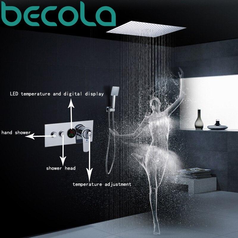Becola Thermostatique ensemble De Douche LED température et affichage numérique système de douche robinet Mural Pluie douche tête B-6109