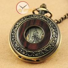 2015 New Vintage Wood Grain Hollow Self winding FOB Mechanical Pocket Watch Steampunk Skeleton Back With Chain Men Women