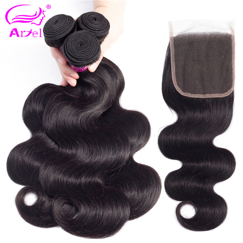 ARIEL Hair Indian Body Wave 3 Bundles With Closure 4 4 Non Remy Hair Weft Weave