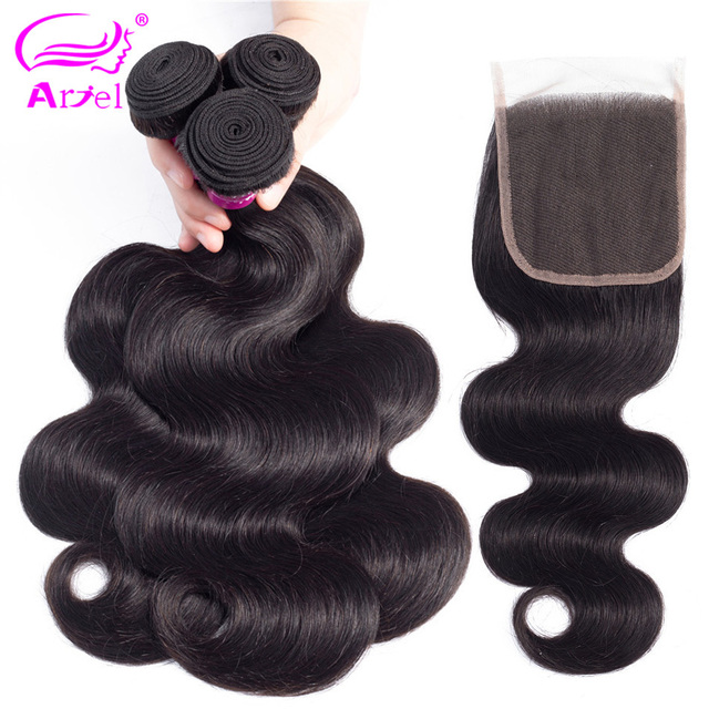 ARIEL pelo indio onda del cuerpo 3 paquetes con cierre 4*4 no Remy trama de cabello tejido 2 3 4 paquetes de cabello humano con cierre