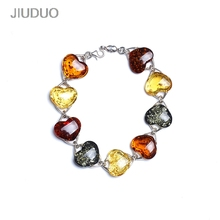 JIUDUO jewelry amber bracelet beeswax female Bracelets Shipping 925 silver inlay support re-inspection attached certificate jiuduo fashion natural baltic amber beeswax female necklace pendant 925 silver design factory direct special package mail