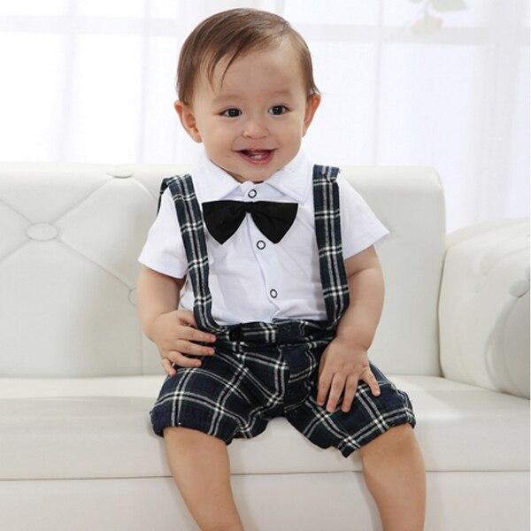 Cute Boy Kid Casual Wedding Suit Set Vest Kawaii Plaid Straps Bowtie