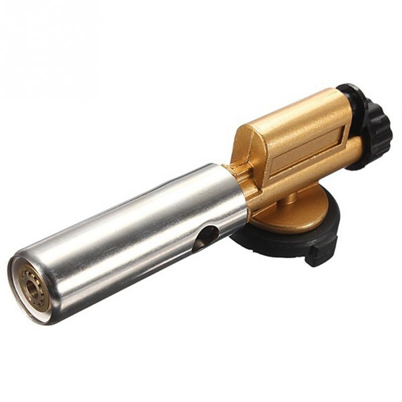 Electronic Ignition Gun Copper Flame Butan Gas Burner Adjustable Flame Gun Torch Lighter Outdoor Camping Picnic BBQ Welding Tool