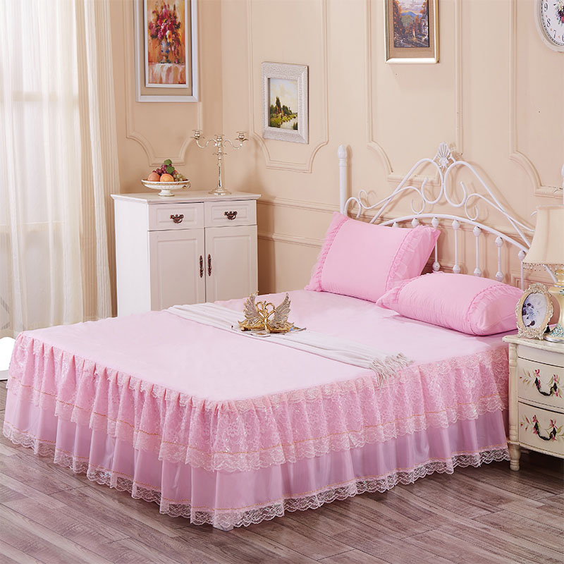 king size ruffle bed skirt 200x220cm bed cover romantic lace bedspread bedding one piece free. Black Bedroom Furniture Sets. Home Design Ideas