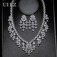 UILZ Luxurious Design AAA Zirconia Earrings Necklace Set Top Quality Leaf Bride Wedding Jewelry Set For