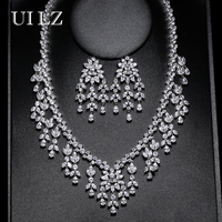 UILZ Luxurious Design AAA Zirconia Earrings Necklace Set Top Quality Leaf Bride Wedding Jewelry Set For