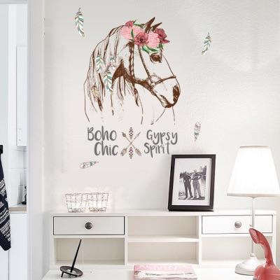 Paarden Sticker Muur.Diy Vintage Retro Poster Paard Muursticker Animal Bloem Woonkamer