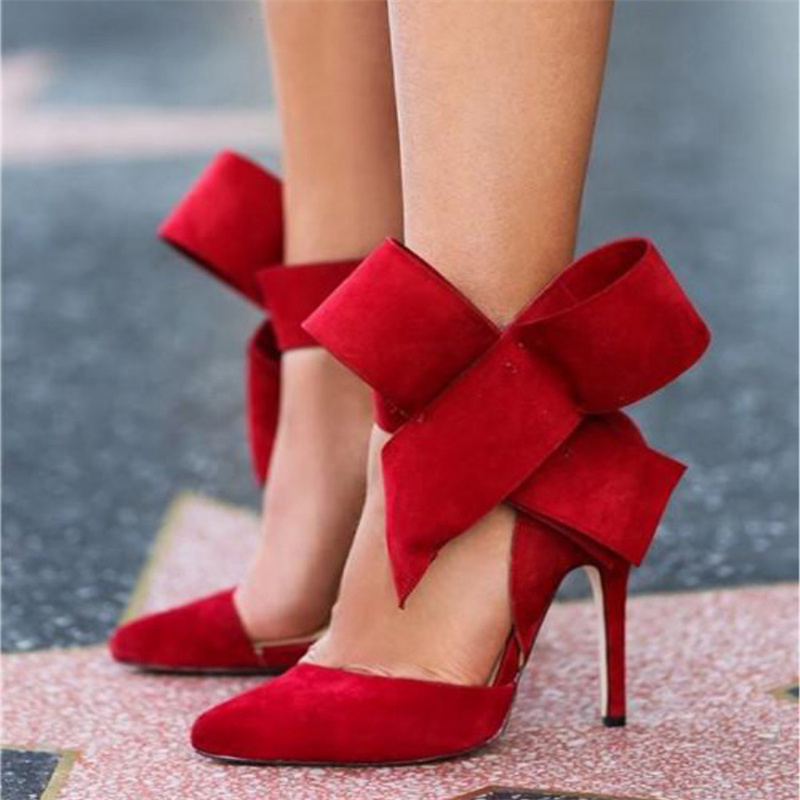 Free shipping spring women's fashion plus size oversized bowknot pointed toe shallow mouth velvet high-heeled shoes