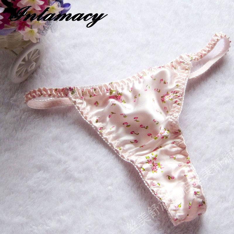 Silk Panties Female 100% Silk Thong T Panties Sexy
