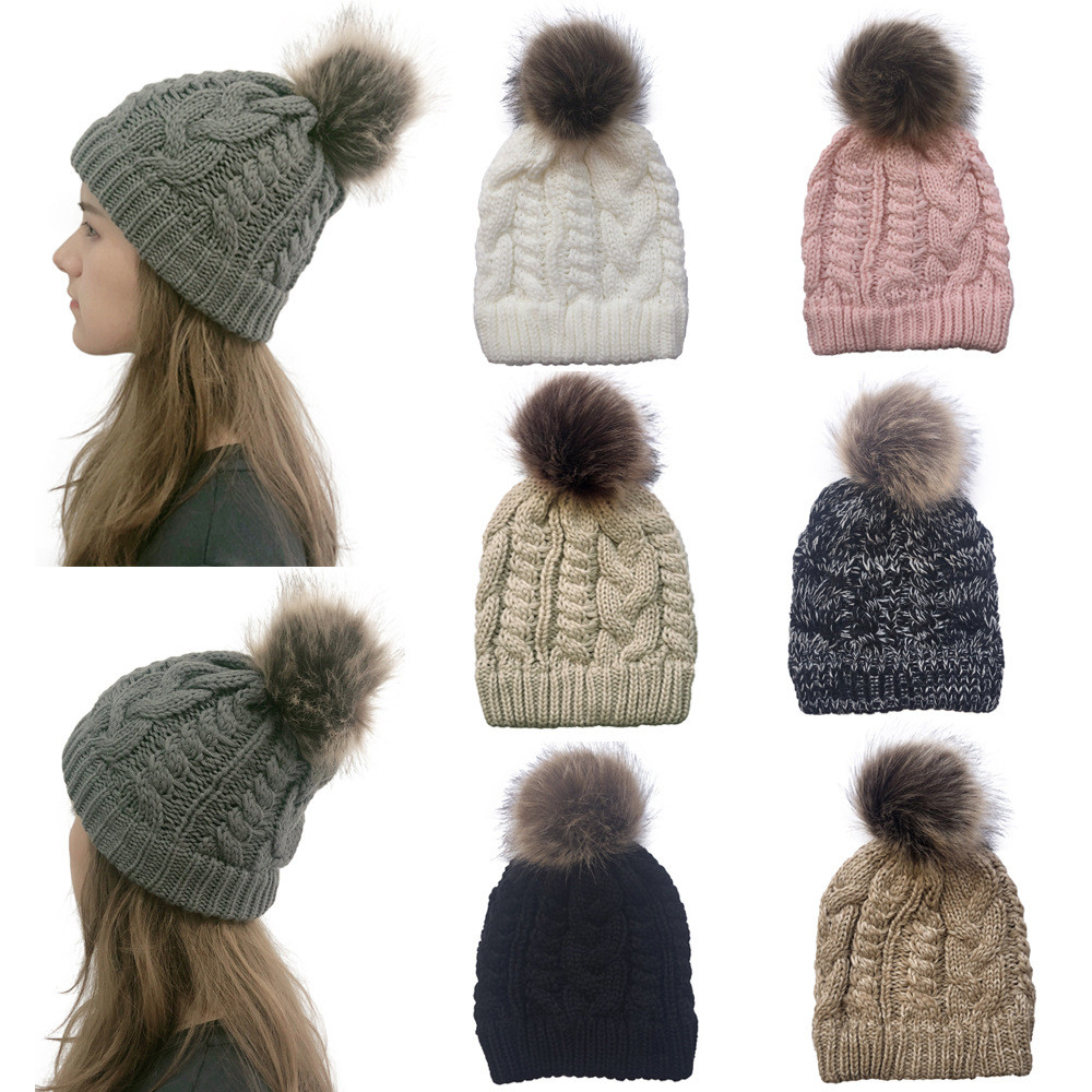 Hawcoar New Fashion Casual Warm Winter Crochet Knit Wool Solid Color Beanie Caps For Women Hairball Hats Casquette Z5