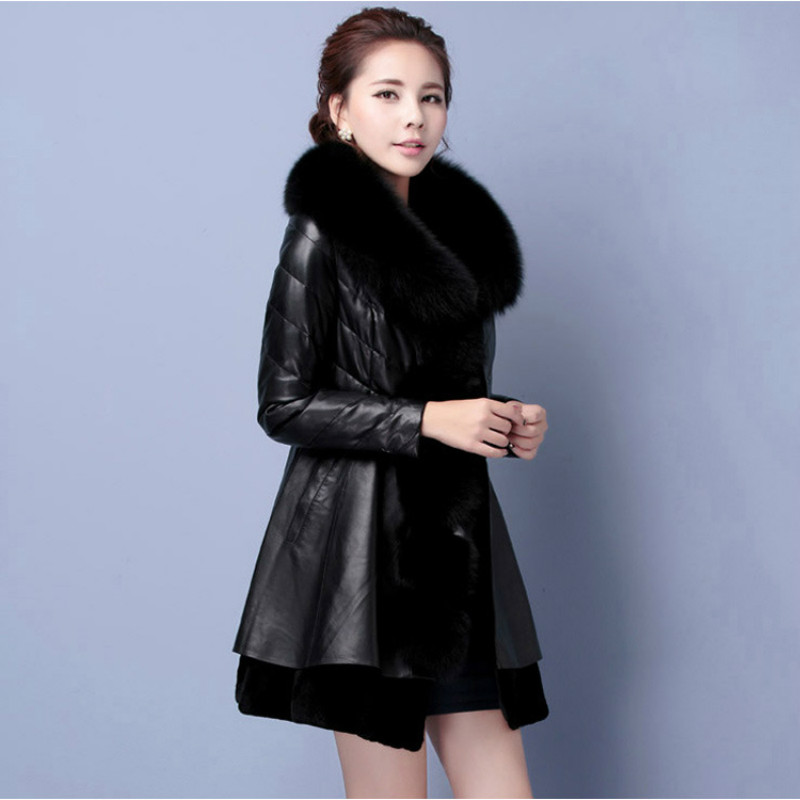 Luxury Faux Fur Collar Coat Women Winter Slim Long Sleeve Faux