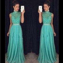 Abendkleider High Neck Grüne Chiffon-Langes Abendkleid Elegante Mit Kristallen Gürtel Voller Länge Vintage Prom Kleider 2016