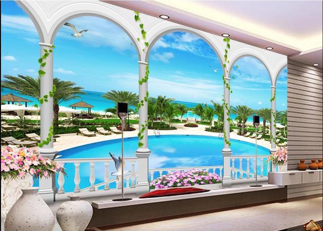 Customized Wall Paper Beachfront Resort 3d Mural Backdrop Wallpaper For Walls 3D Living Room Bedroom Non