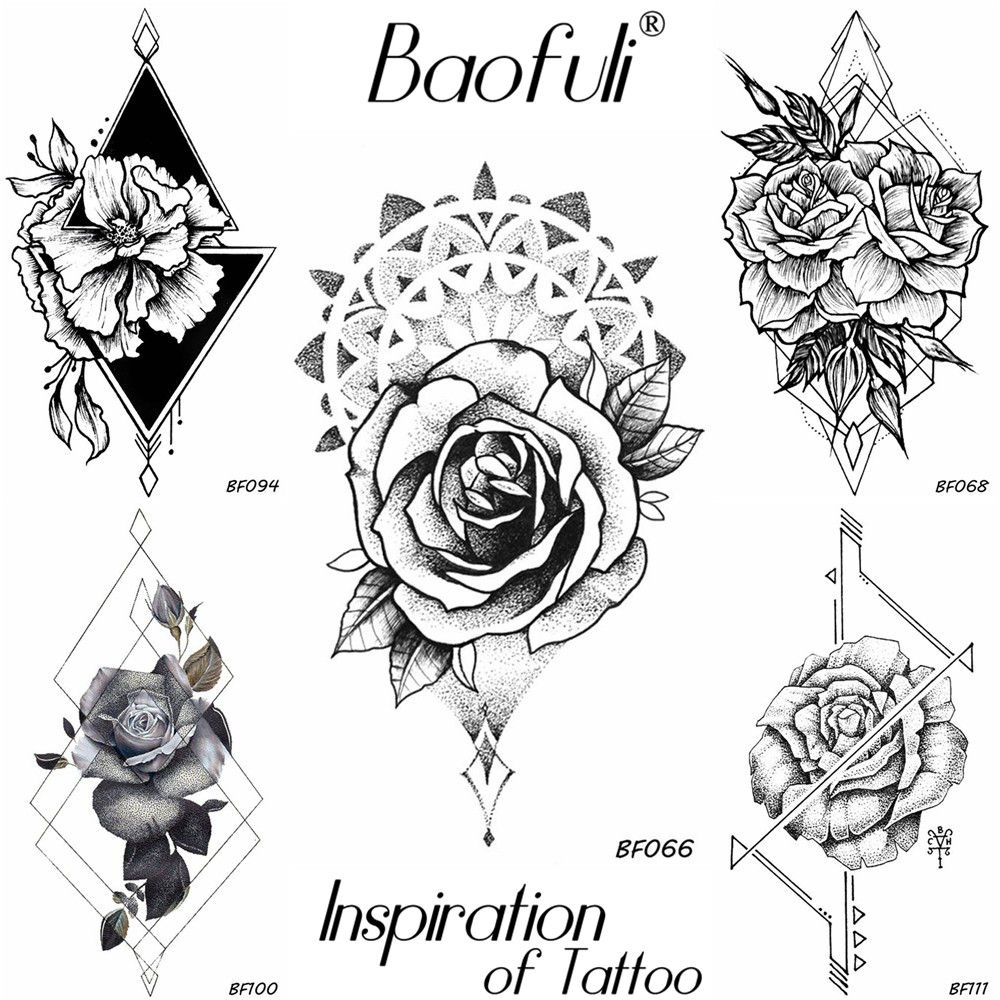 Henna Flower Rose Round Temporary Tattoo Pencil Sketch Waterproof Black Tatoos Neck Hands Ankle Women Sexy Fake Tattoo Stickers