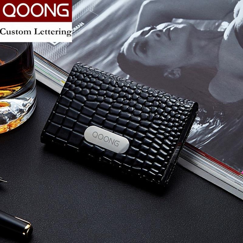 QOONG Företagsnamn Kortinnehavare Kreditkortshållare Mode Unisex Visitkort Väska Metallplånbok Läder Solid Steel Box KH1-010