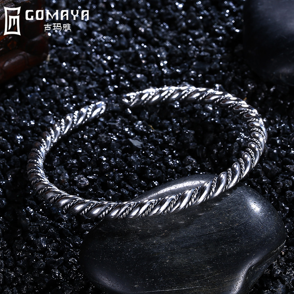 GOMAYA 999 Sterling Silver Bangles Fine Jewelry Gift for Women 2017 New Cuff Bracelets Wristband Wire Cable Antique Bangles
