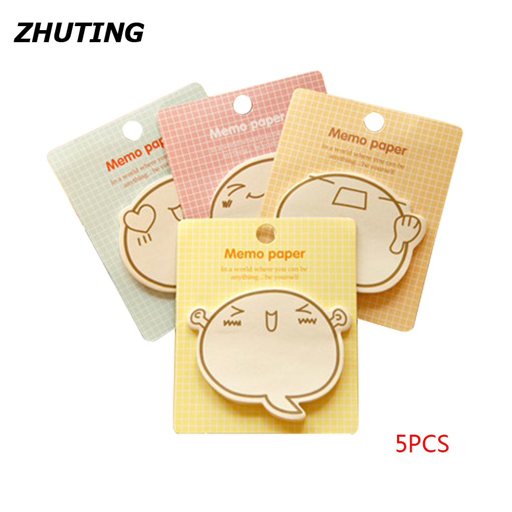 5Pcs Sticky Notes Funny Expression Cute Stickers N Times Posted Sticky Notes Memo Pad