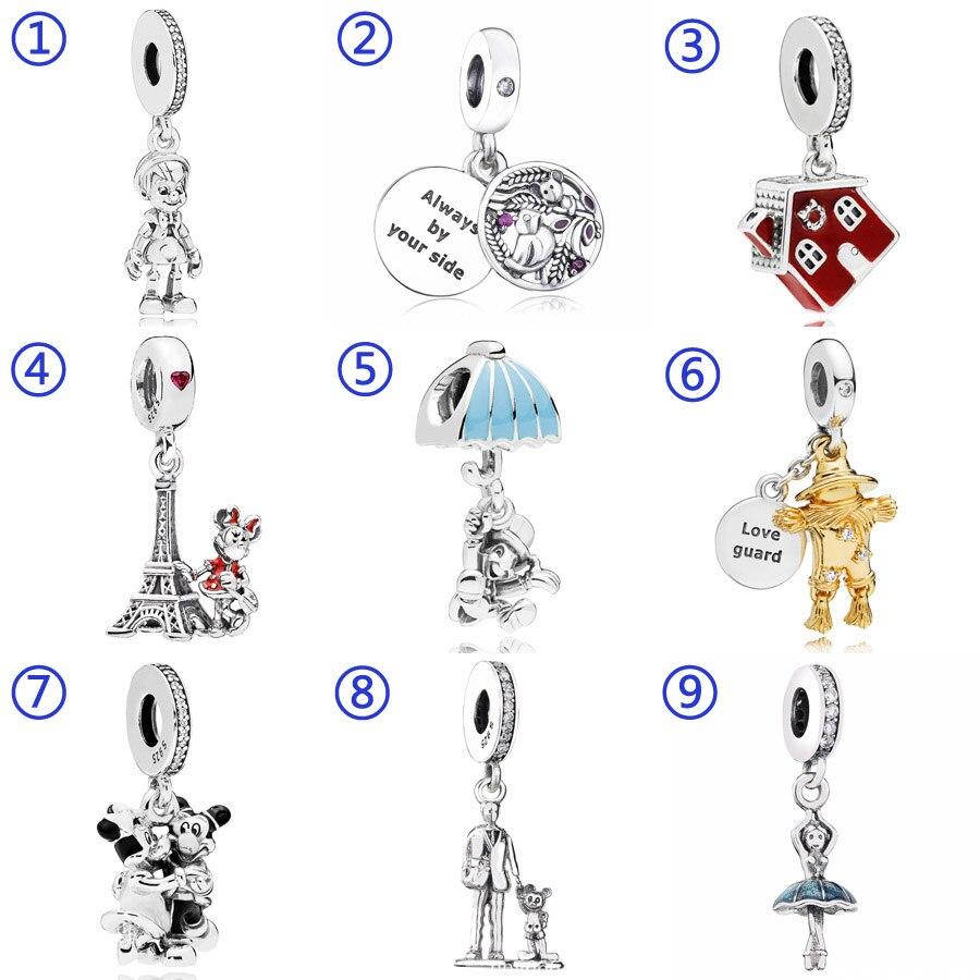 Pinocho siempre a tu lado. Minnie Mouse colgante Torre Eiffel encanto Fit Pandora pulsera 925 pulsera de plata esterlina del grano de la joyería de Diy