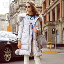 Prase women's 2016 winter fashion large fur collar down coat female thickening over-the-knee down coat
