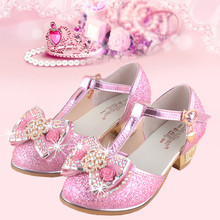 qloblo Girls Princess Sandals Summer Rhinestone Kids Wedding Shoes for Bowknot  Children Party Shoe High- 720787d31298