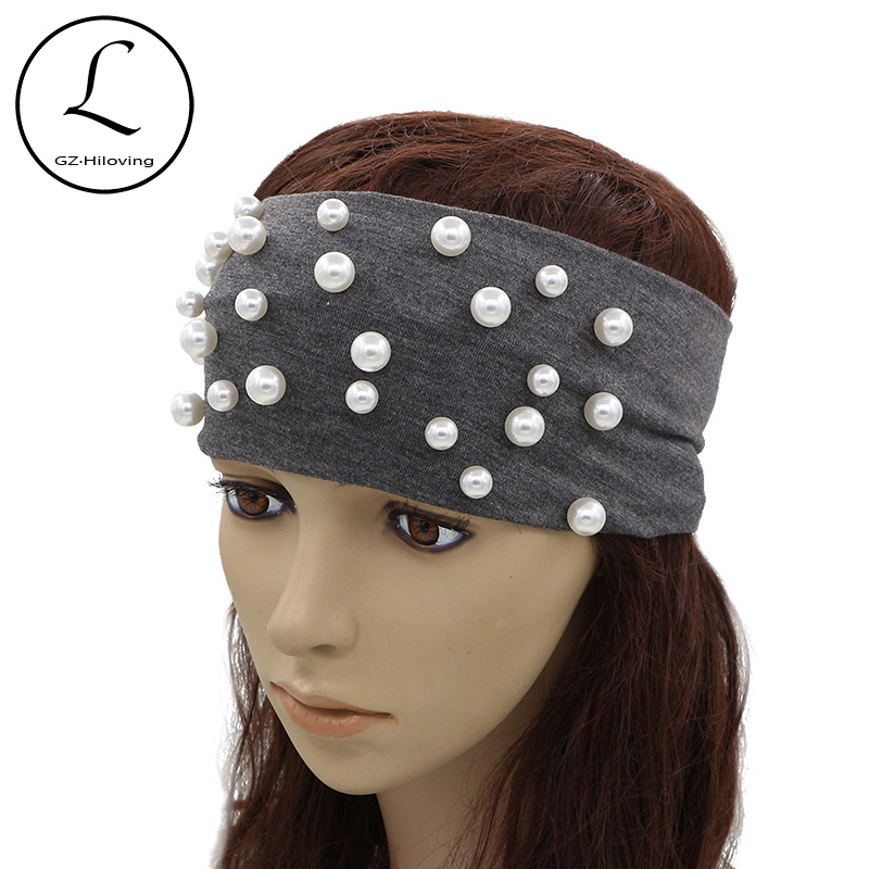 GZHILOVINGL 2017 New Design Headwear Cotton Headband Hair Accessories Big Small Pearl Headbands Wide Tie High Quality 70316 high quality abs 10mm black white plain lady plastic headband no teeth diy resin headband hair accessories headwear