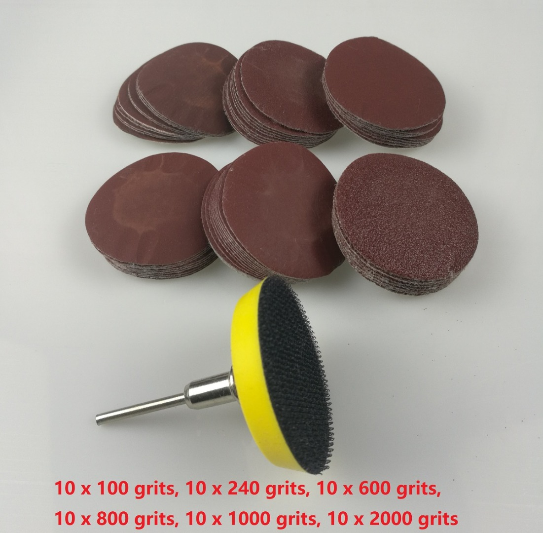 "New 60pcs 2"" 50mm Sandpaper Disc 100 240 600 800 1000 2000 Grits i 50mm Loop  Sanding Pad with"
