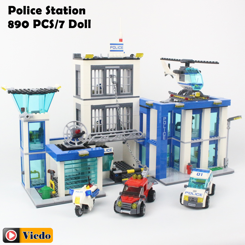 Bela 10424 City Police Station motorbike helicopter Model building kits compatible with lego city 60047 blocks Educational toys стоимость