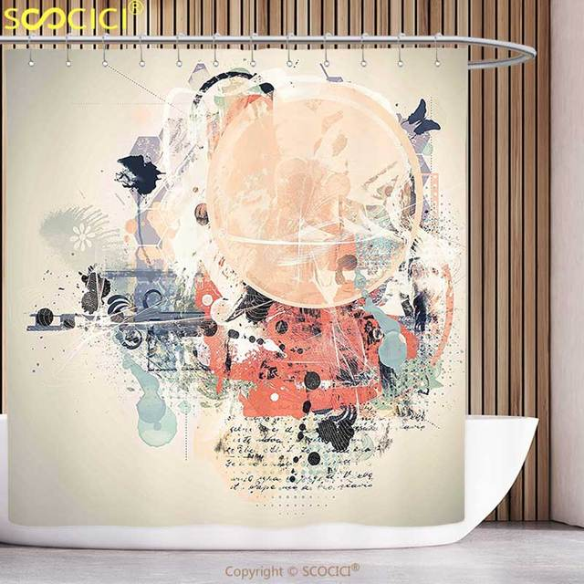 Funky Shower Curtain Abstract Grunge Textured Mix Collage with Murky ...
