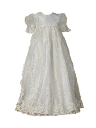 New Shinny Handmade Baptism Gown Robe Baby Girl Christening Dress Lace Beading 0 4 6 9 12 18 24 Month