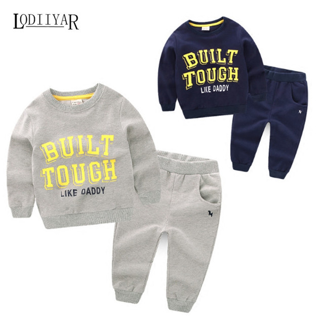 Boys Clothing Sets Kids Boys Handsome Letter Cotton Casual Long-sleeved Top + Pants Children Clothing Sets Autumn Spring Winter