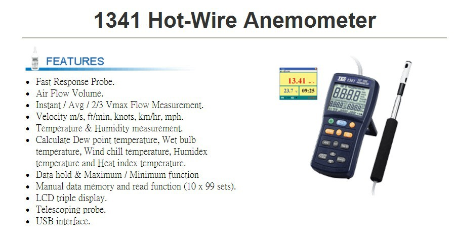 TES 1341 Heißer Draht Thermo Anemometer HVAC luftstrom ...