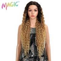 Cheveux magiques crépus bouclés sans colle haute température Fiber cheveux 32 pouces naturel blond synthétique dentelle avant perruques pour les femmes noires