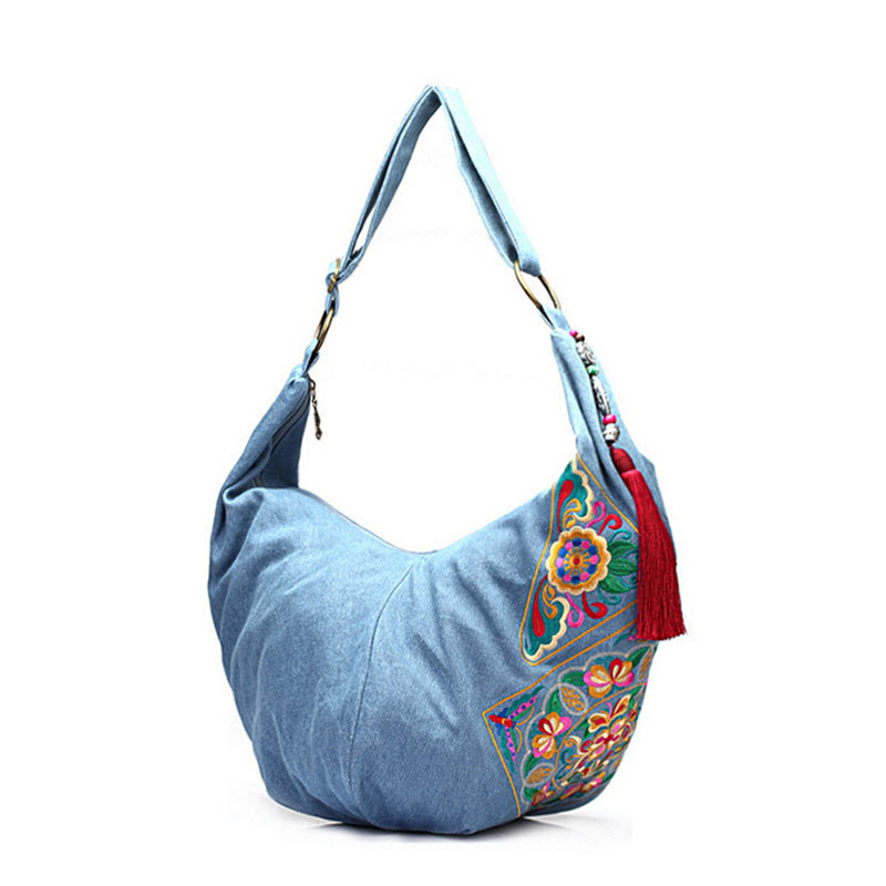 ФОТО Chinese style embroidery bag ethnic shoulder bags red black blue women crossbody hobo bag denim sac bolsas etnicas CY-2
