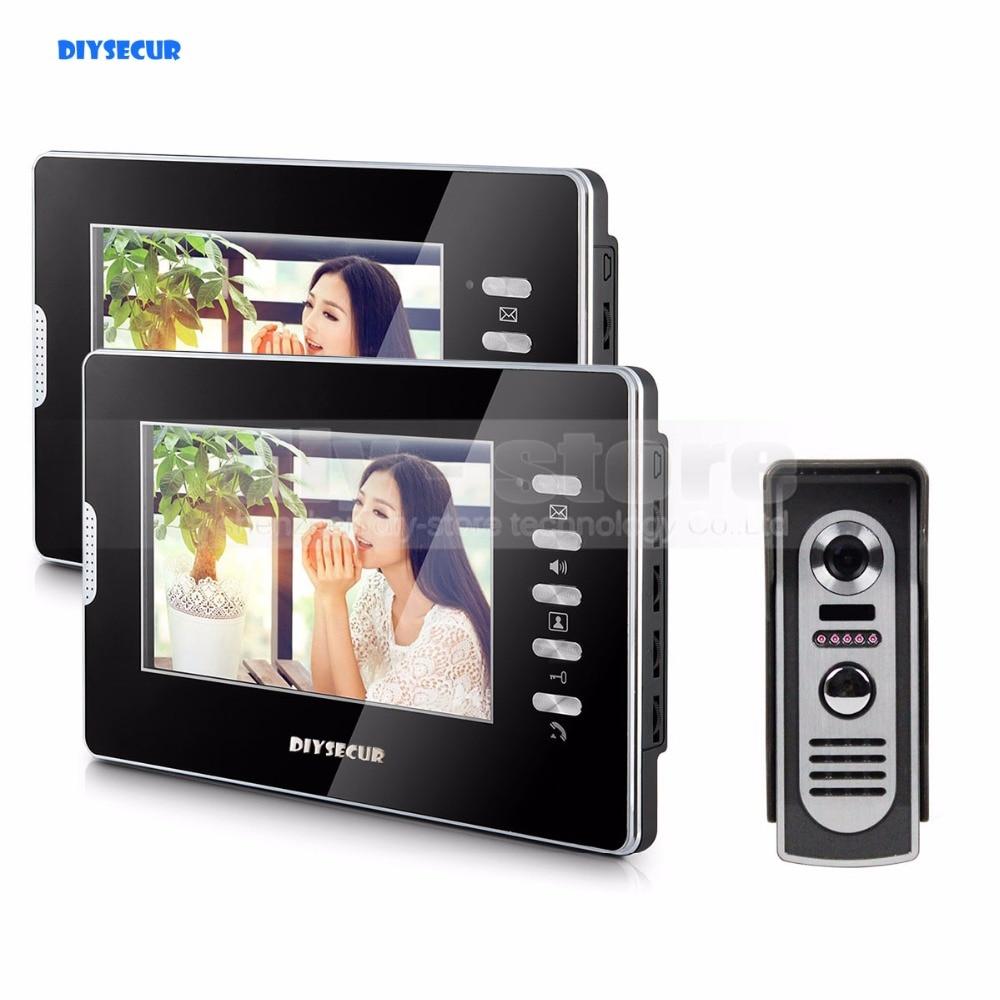 DIYSECUR 600TVL 7 LCD Video Doorbell Door Phone Video Intercom System Home Entry Security 1V2
