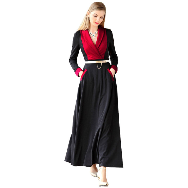 muslim clothing casual contrast color women spring dress long