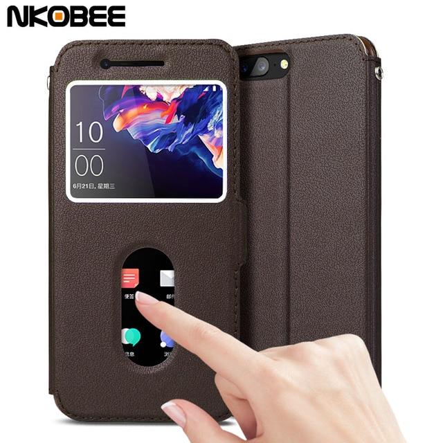 "NKOBEE Oneplus 5 Case Original Leather Flip Cover Oneplus 5 Case Luxury Call Window Funda Case For One plus 5 Phone A5000 5.5"""