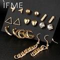 9 pcs/Set Crystal Heart Gold Color Stud Earrings Tassel Triangle Vintage Silver Color Earring Set For Women Jewelry Oorbellen