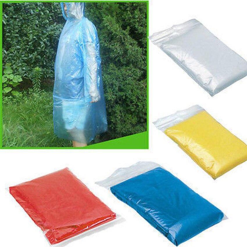 Unisex Adult Emergency Rain Coat Poncho Hiking Camping Raincoats Disposable NEW