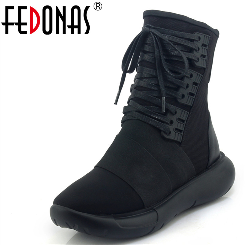 FEDONAS 1New Arrival Women Ankle Boots Cross tied Autumn Winter Warm Sneakers Round Toe Casual Concese